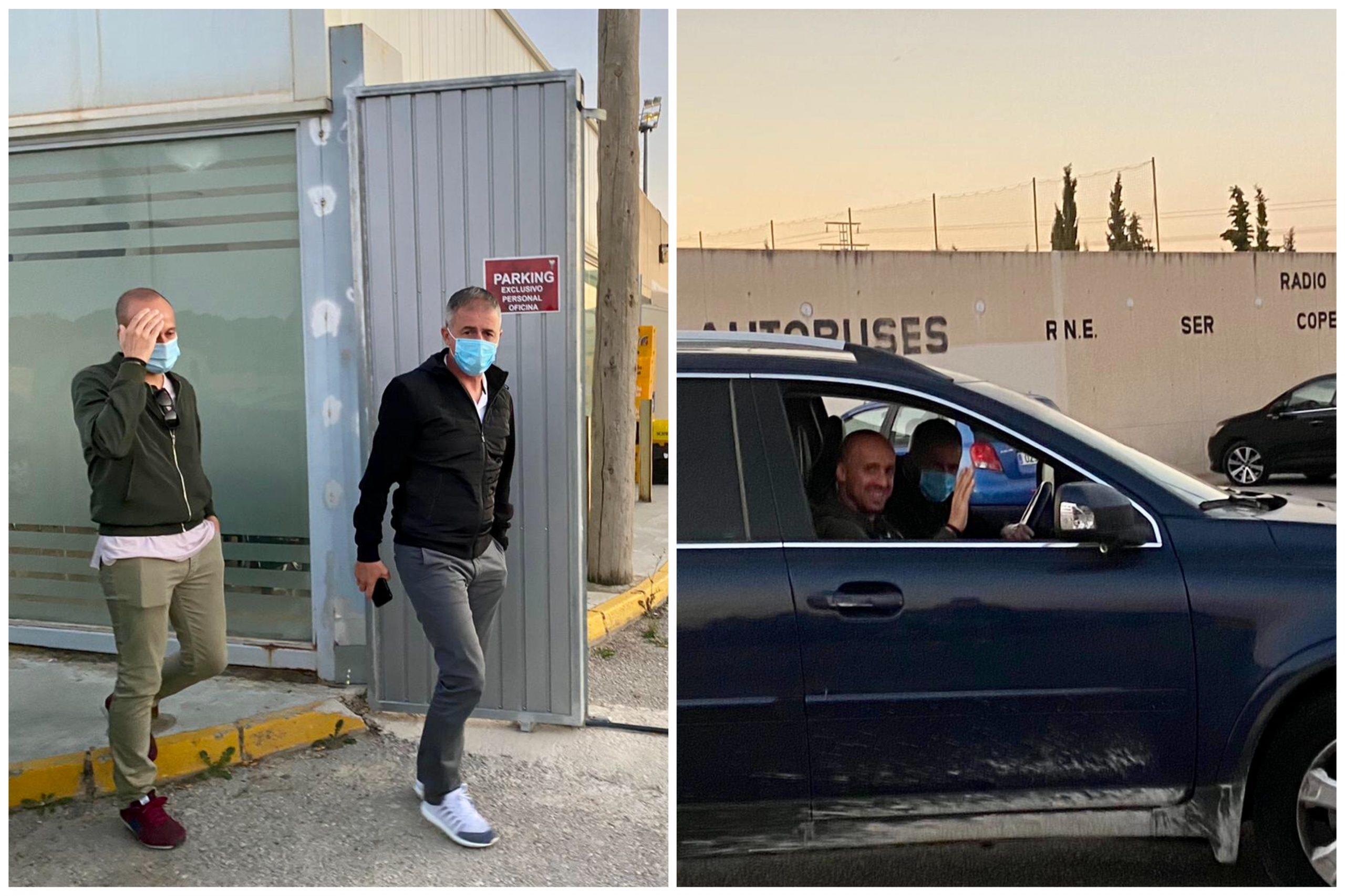 Momento de la salida de Lucas Alcaraz y Chus Cañadas después de firmar el finiquito en las oficinas del Alba. Luis Martínez. ESRadio Albacete
