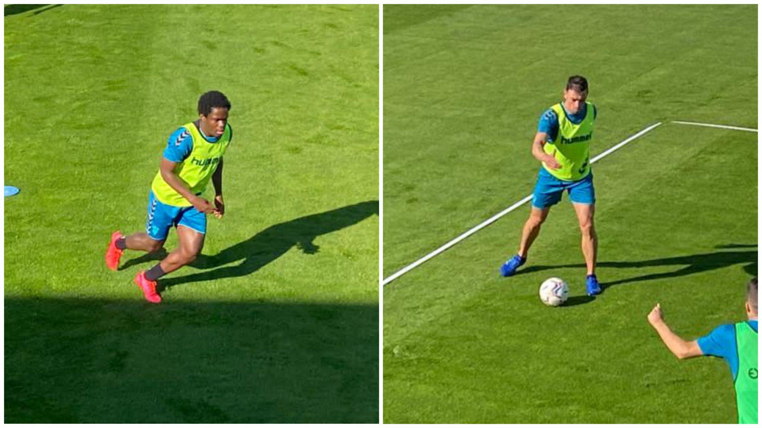 Entrenamiento del Alba con Jean Jules (izquierda) y Gorosito (derecha) tras sus respectivas lesiones. Luis Martinez/ESRadio Albacete